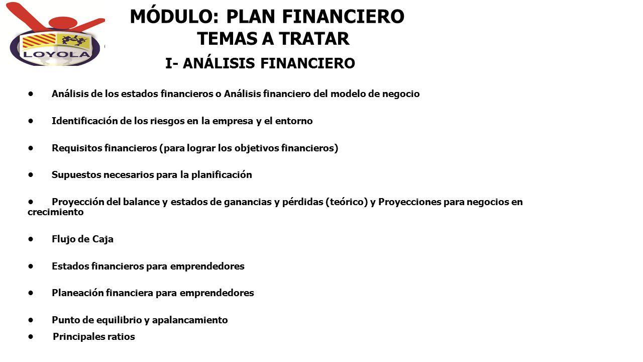 MÓDULO: PLAN FINANCIERO Análisis de los estados financieros o Análisis financiero del modelo de negocio Identificación de los riesgos en la empresa y
