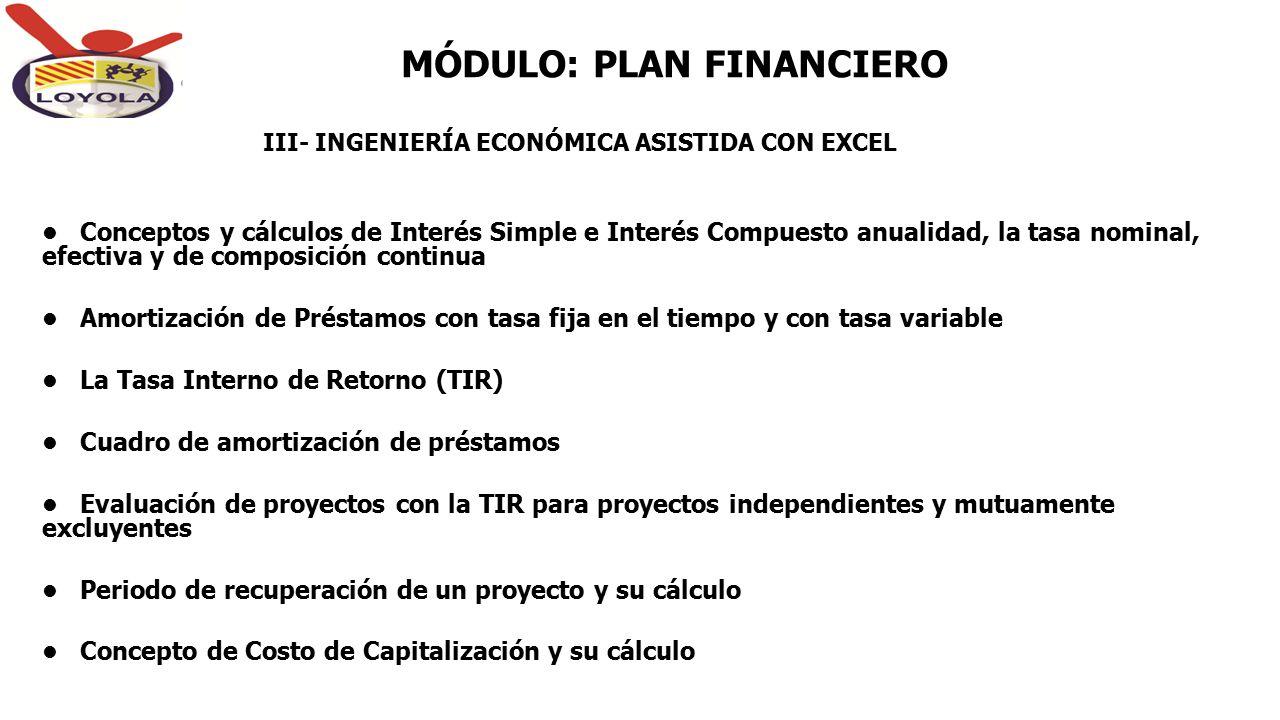 MÓDULO: PLAN FINANCIERO Conceptos y cálculos de Interés Simple e Interés Compuesto anualidad, la tasa nominal, efectiva y de composición continua Amor