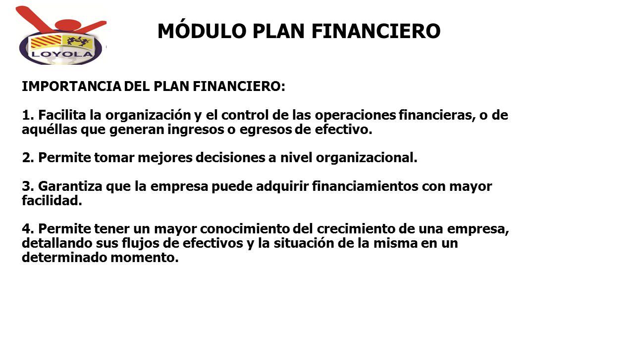  IMPORTANCIA DEL PLAN FINANCIERO: 1. Facilita la organización y el control de las operaciones financieras, o de aquéllas que generan ingresos o egres