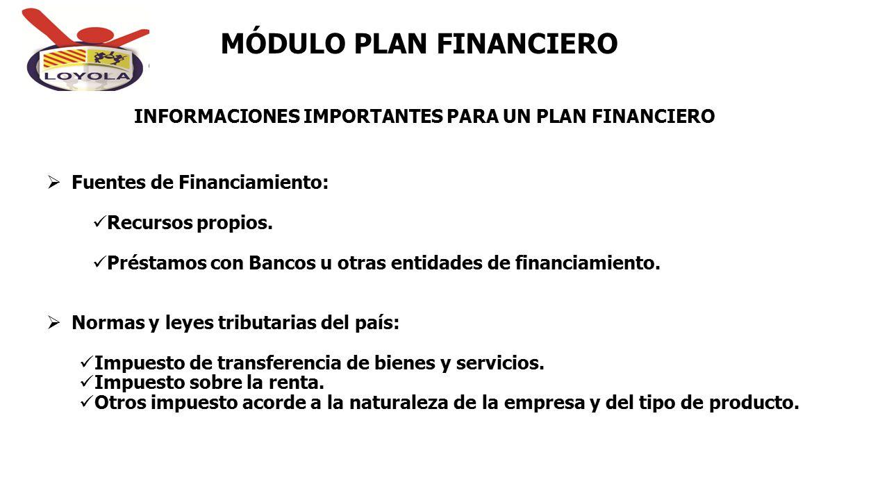INFORMACIONES IMPORTANTES PARA UN PLAN FINANCIERO MÓDULO PLAN FINANCIERO  Fuentes de Financiamiento: Recursos propios. Préstamos con Bancos u otras e