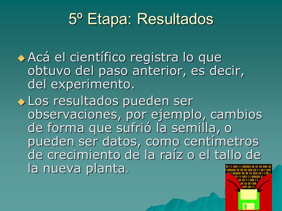 5º Etapa: Resultados  Acá el científico registra lo que obtuvo del paso anterior, es decir, del experimento.