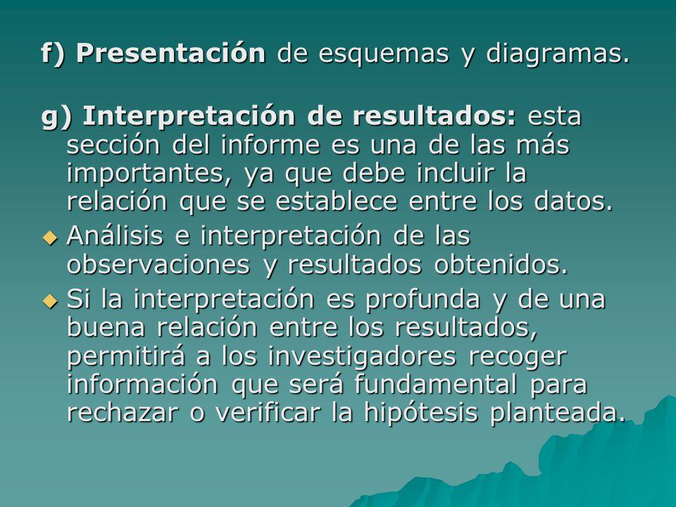 f) Presentación de esquemas y diagramas.