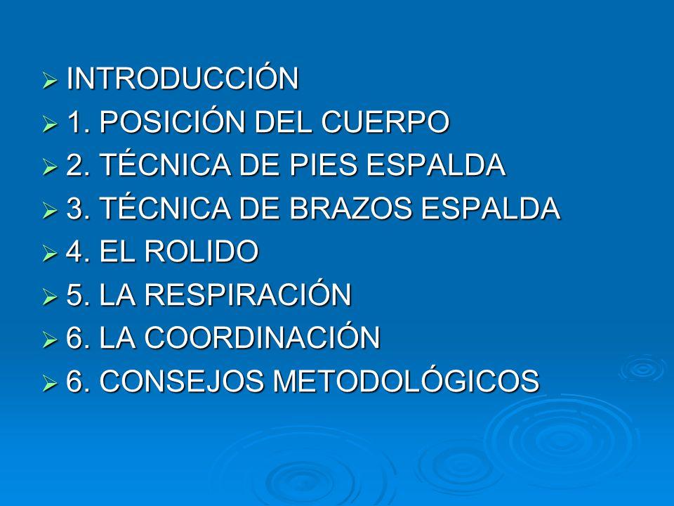  INTRODUCCIÓN  1.POSICIÓN DEL CUERPO  2. TÉCNICA DE PIES ESPALDA  3.