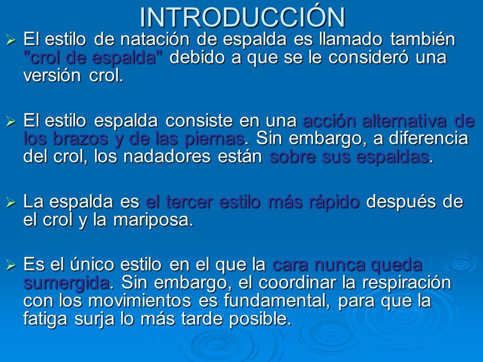INTRODUCCIÓN  El estilo de natación de espalda es llamado también crol de espalda debido a que se le consideró una versión crol.