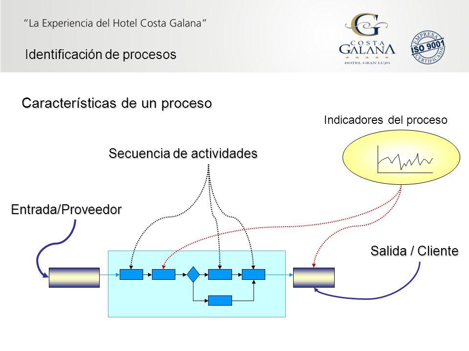 8 Características de un proceso Entrada/Proveedor Salida / Cliente Secuencia de actividades Indicadores del proceso Identificación de procesos