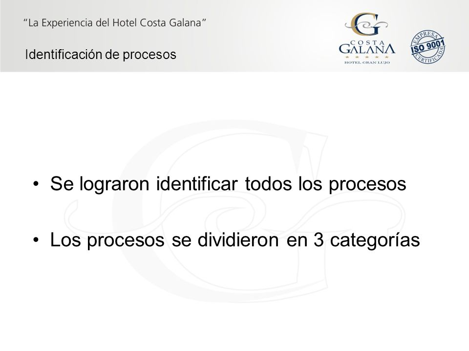 Procesos operativos entradas salidas Procesos de gestión Procesos de soporte Clientes Categorías de procesos Clientes Identificación de procesos