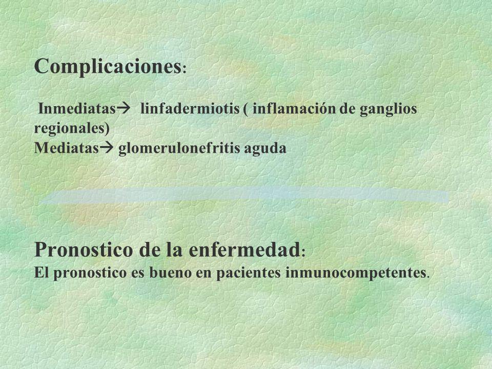 Complicaciones : Inmediatas  linfadermiotis ( inflamación de ganglios regionales) Mediatas  glomerulonefritis aguda Pronostico de la enfermedad : El