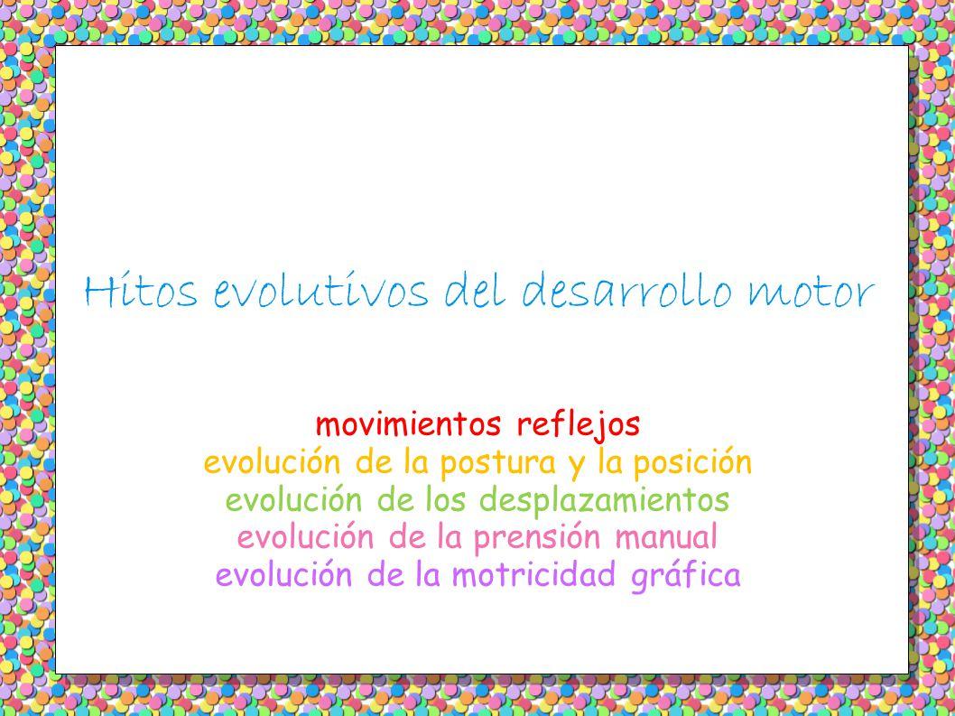 Hitos evolutivos del desarrollo motor movimientos reflejos evolución de la postura y la posición evolución de los desplazamientos evolución de la pren