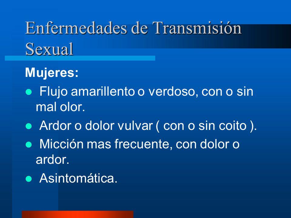 Enfermedades de Transmisión Sexual Varones: Secreción amarillenta o verdosa, por el pene.