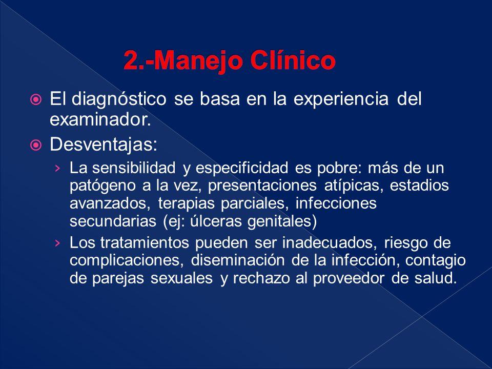  El diagnóstico se basa en la experiencia del examinador.  Desventajas: › La sensibilidad y especificidad es pobre: más de un patógeno a la vez, pre