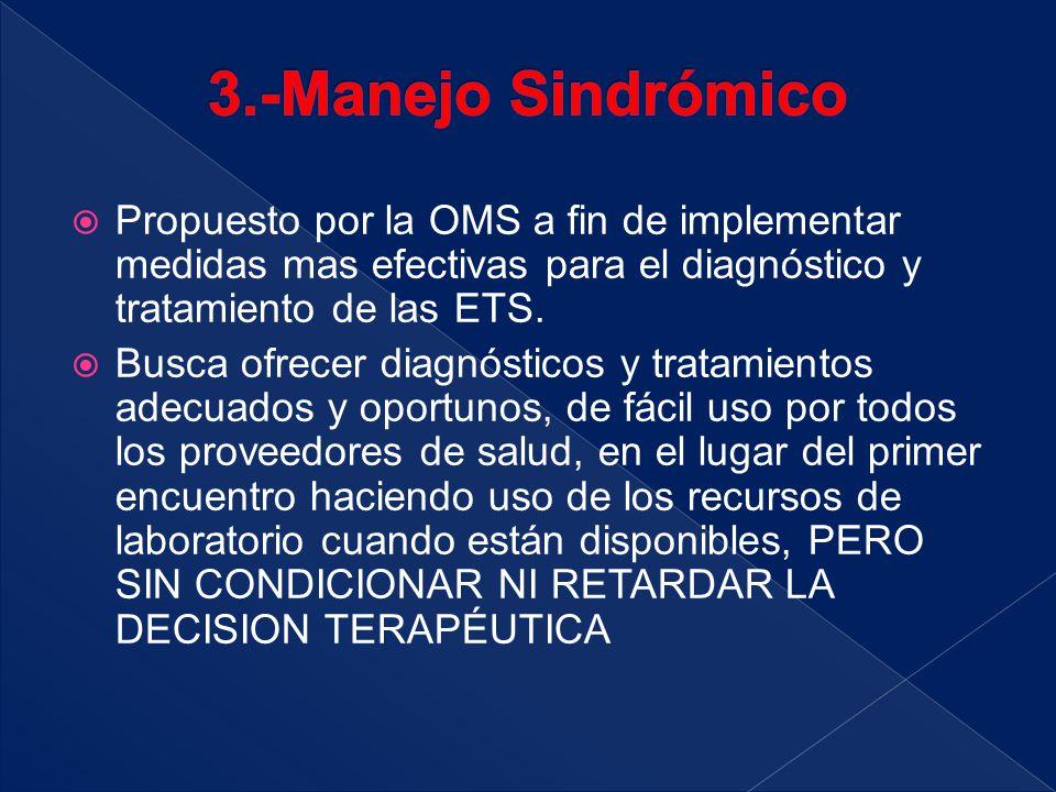  Propuesto por la OMS a fin de implementar medidas mas efectivas para el diagnóstico y tratamiento de las ETS.  Busca ofrecer diagnósticos y tratami