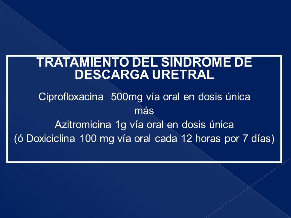 TRATAMIENTO DEL SÍNDROME DE DESCARGA URETRAL Ciprofloxacina 500mg vía oral en dosis única más Azitromicina 1g vía oral en dosis única (ó Doxiciclina 1