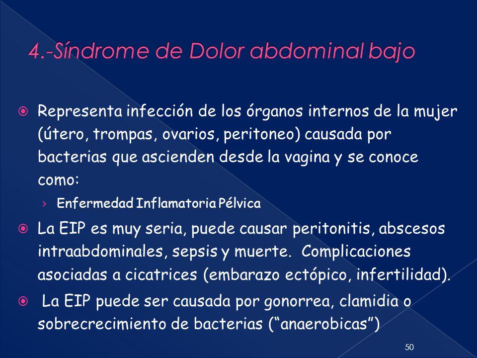 50  Representa infección de los órganos internos de la mujer (útero, trompas, ovarios, peritoneo) causada por bacterias que ascienden desde la vagina