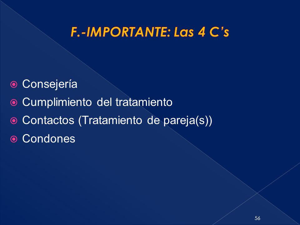 56  Consejería  Cumplimiento del tratamiento  Contactos (Tratamiento de pareja(s))  Condones