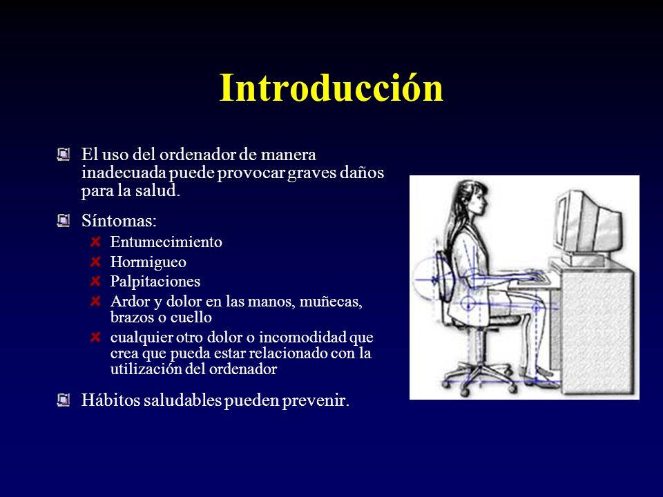 Introducción El uso del ordenador de manera inadecuada puede provocar graves daños para la salud.