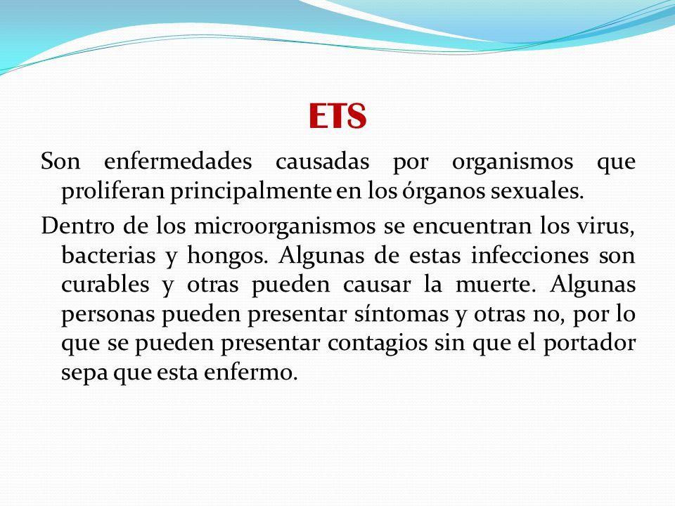 ETS CANDIDIASIS VAGINAL: es causada por un hongo llamado Cándida.