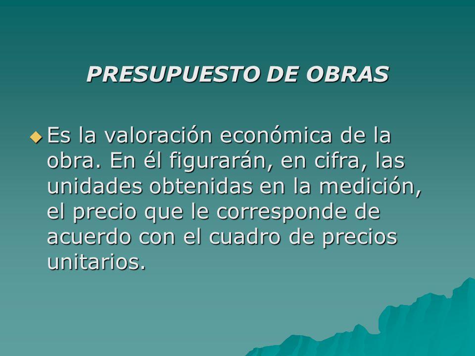 PRESUPUESTO DE OBRAS  Es la valoración económica de la obra.