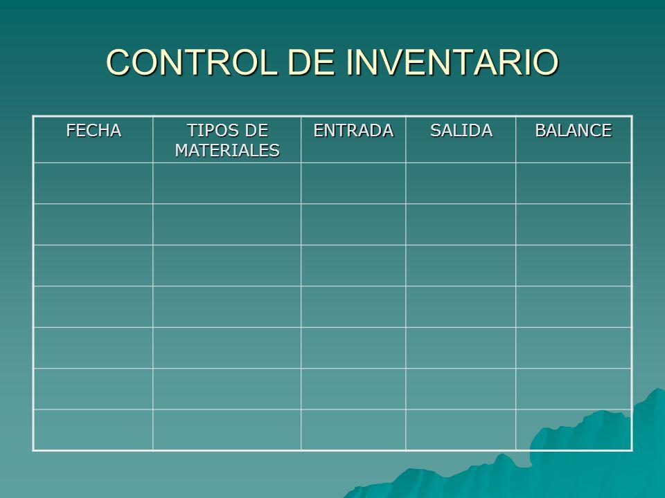 CONTROL DE INVENTARIO FECHA TIPOS DE MATERIALES ENTRADASALIDABALANCE