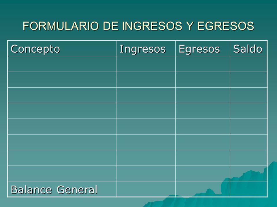 FORMULARIO DE INGRESOS Y EGRESOS ConceptoIngresosEgresosSaldo Balance General