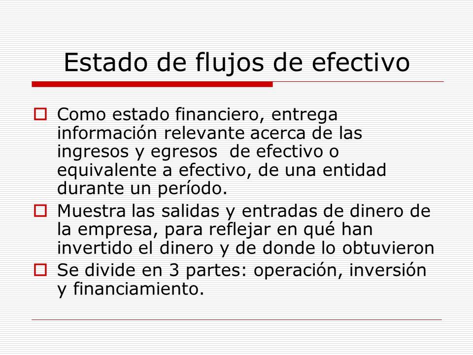 Estado de flujos de efectivo  Como estado financiero, entrega información relevante acerca de las ingresos y egresos de efectivo o equivalente a efec