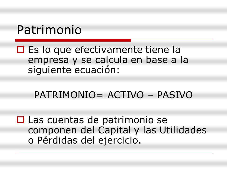 Patrimonio  Es lo que efectivamente tiene la empresa y se calcula en base a la siguiente ecuación: PATRIMONIO= ACTIVO – PASIVO  Las cuentas de patri