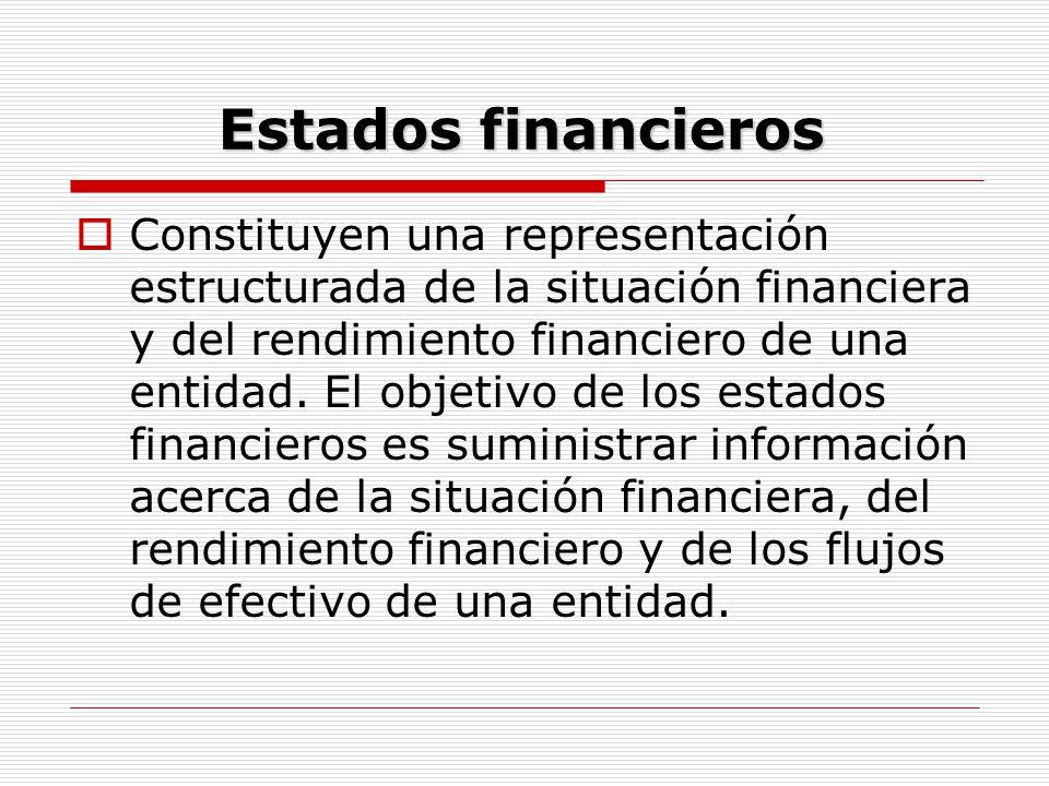 Estados financieros  Constituyen una representación estructurada de la situación financiera y del rendimiento financiero de una entidad. El objetivo