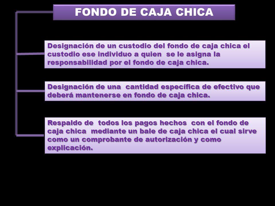 FONDO DE CAJA CHICA Designación de un custodio del fondo de caja chica el custodio ese individuo a quien se le asigna la responsabilidad por el fondo