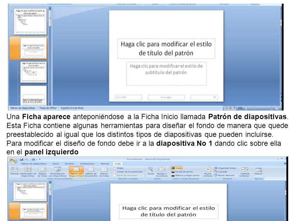 Una Ficha aparece anteponiéndose a la Ficha Inicio llamada Patrón de diapositivas.