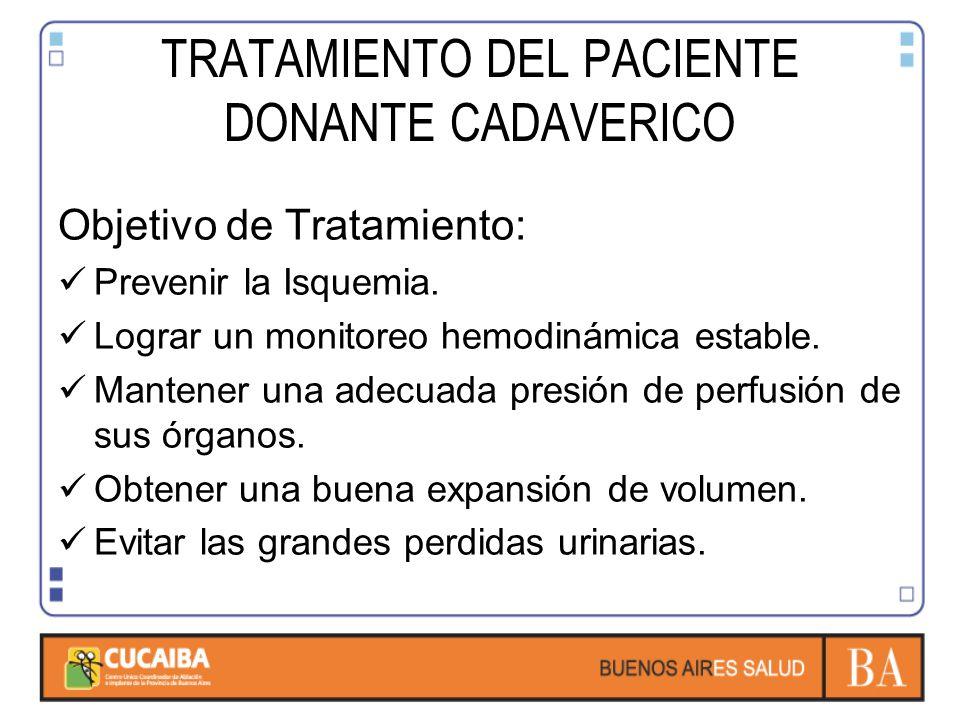 TRATAMIENTO DEL PACIENTE DONANTE CADAVERICO Objetivo de Tratamiento: Prevenir la Isquemia.