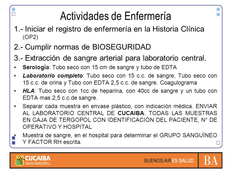 Actividades de Enfermería 1.- Iniciar el registro de enfermería en la Historia Clínica (OP2) 2.- Cumplir normas de BIOSEGURIDAD 3.- Extracción de sangre arterial para laboratorio central.