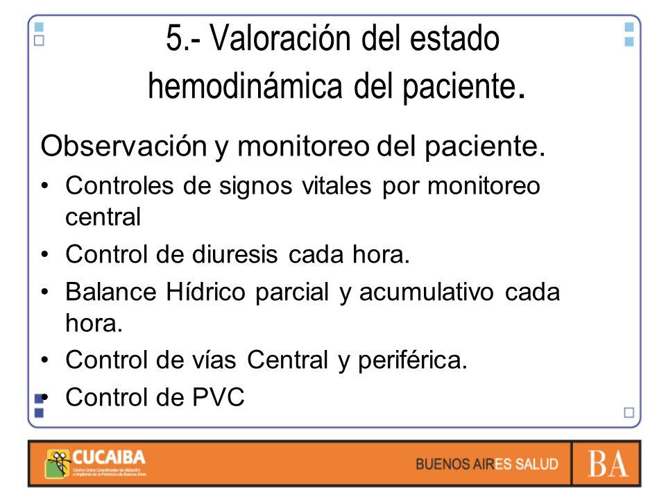 5.- Valoración del estado hemodinámica del paciente.
