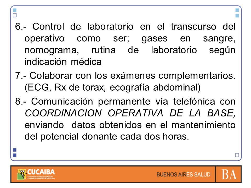 6.- Control de laboratorio en el transcurso del operativo como ser; gases en sangre, nomograma, rutina de laboratorio según indicación médica 7.- Colaborar con los exámenes complementarios.