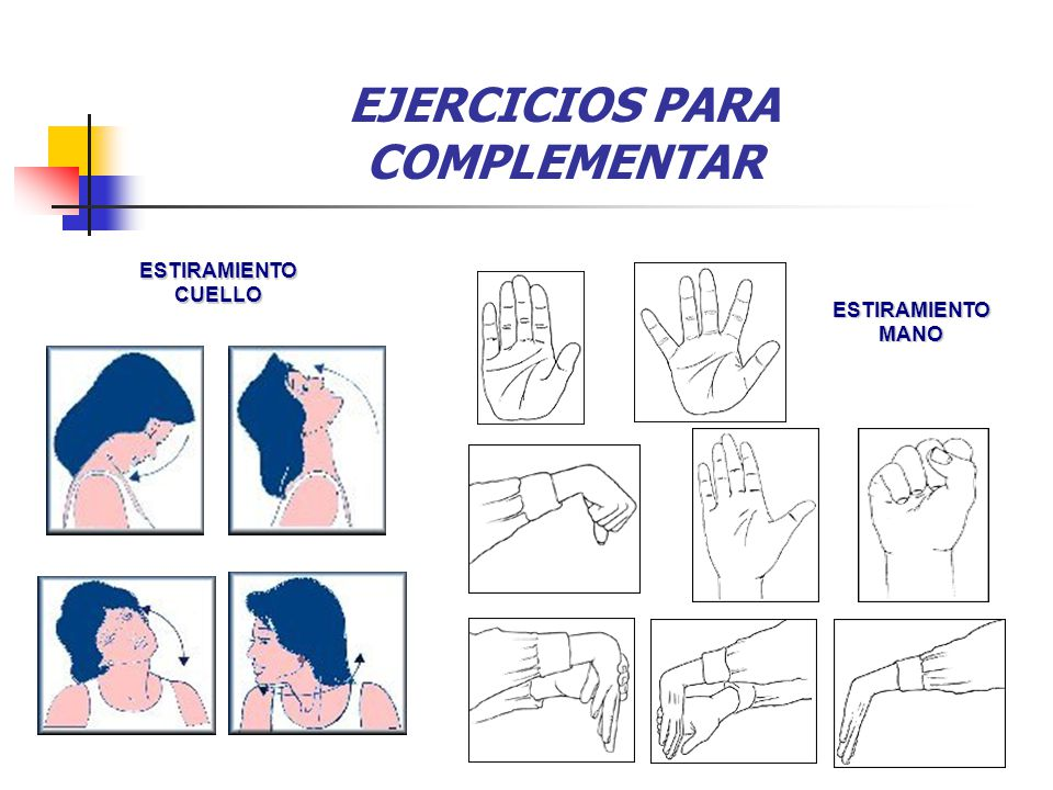 EJERCICIOS PARA COMPLEMENTAR ESTIRAMIENTO CUELLO ESTIRAMIENTOMANO 4.8 1. 7 1.
