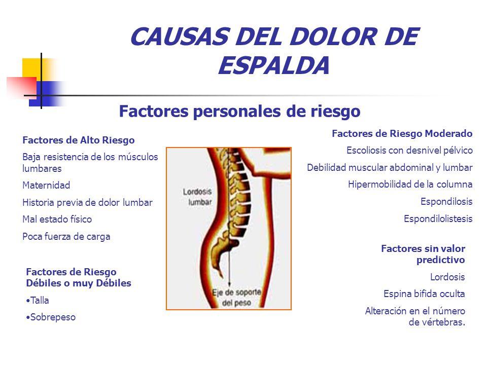 Factores sin valor predictivo Lordosis Espina bifida oculta Alteración en el número de vértebras.