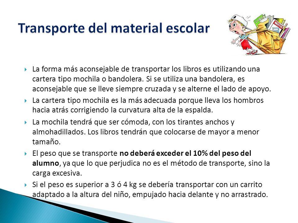  La forma más aconsejable de transportar los libros es utilizando una cartera tipo mochila o bandolera.