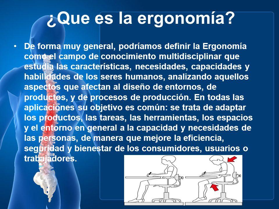 ¿Que es la ergonomía? De forma muy general, podríamos definir la Ergonomía como el campo de conocimiento multidisciplinar que estudia las característi