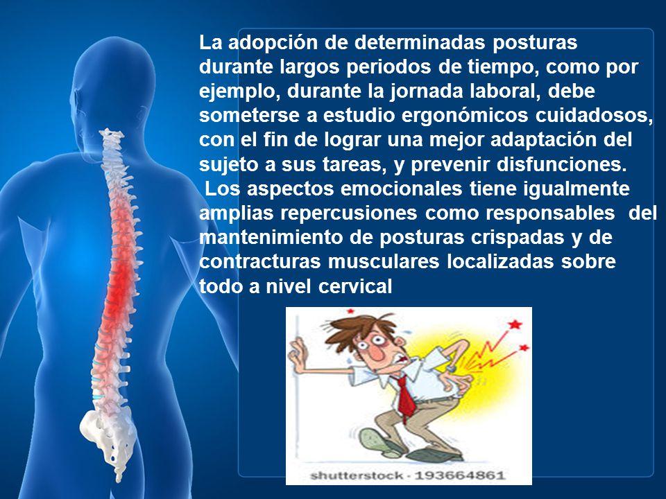 La POSTURA correcta desde el punto de vista fisiológico es aquella que fatigante, no es dolorosa, no altera el equilibrio, el ritmo, ni la movilidad humana.