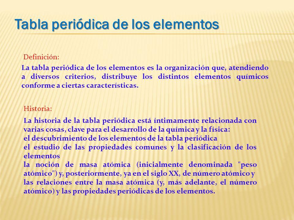 La tabla peridica lic amalia vilca prez ppt video online definicin la tabla peridica de los elementos es la organizacin que atendiendo a diversos criterios distribuye los distintos elementos qumicos urtaz Gallery