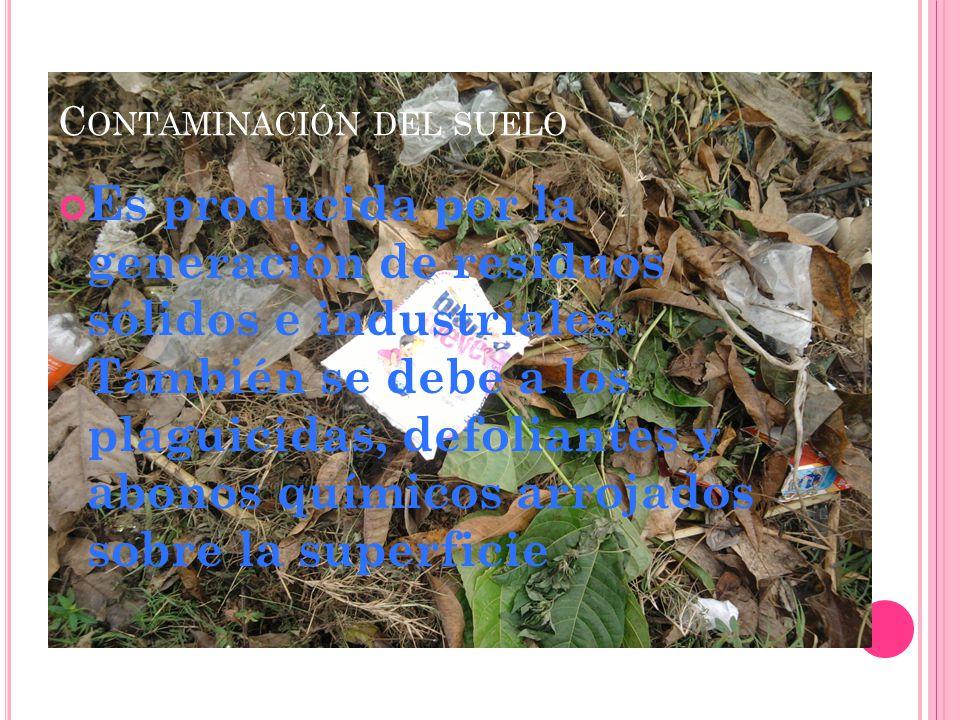 C ONTAMINACIÓN DEL AGUA Es provocada por el vertido de residuos agricolas.se considera que el agua esta contaminada cuando la presencia de sustancias extrañas en su seno hace que deje de estar adaptada a la finalidad para la que va destinada.