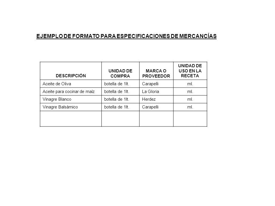 EJEMPLO DE FORMATO PARA ESPECIFICACIONES DE MERCANCÍAS DESCRIPCIÓN UNIDAD DE COMPRA MARCA O PROVEEDOR UNIDAD DE USO EN LA RECETA Aceite de Olivabotell