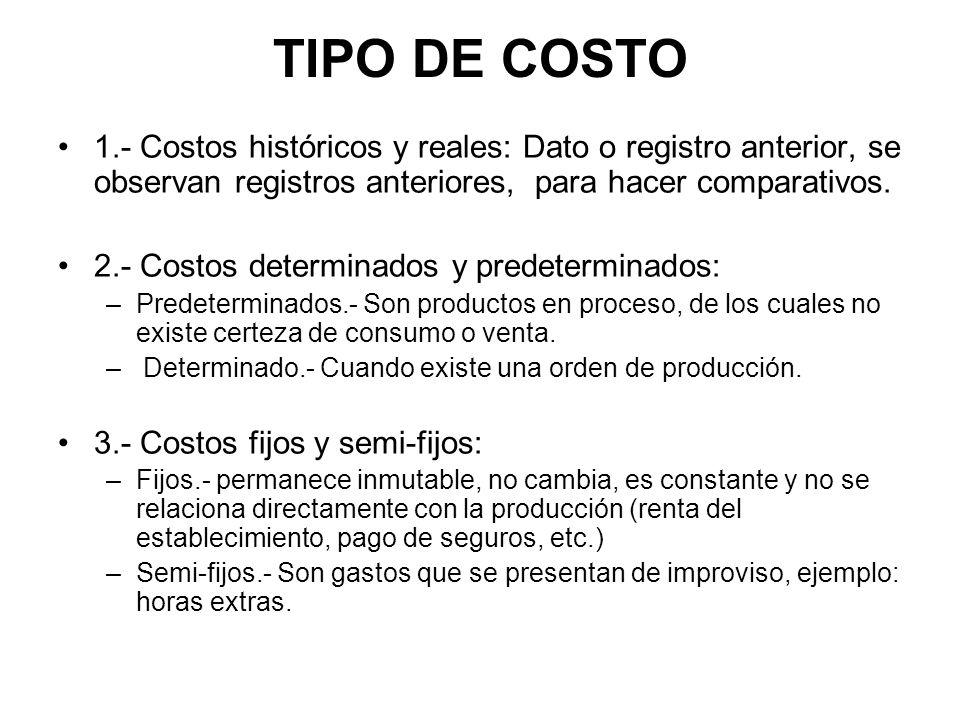 TIPO DE COSTO 1.- Costos históricos y reales: Dato o registro anterior, se observan registros anteriores, para hacer comparativos. 2.- Costos determin