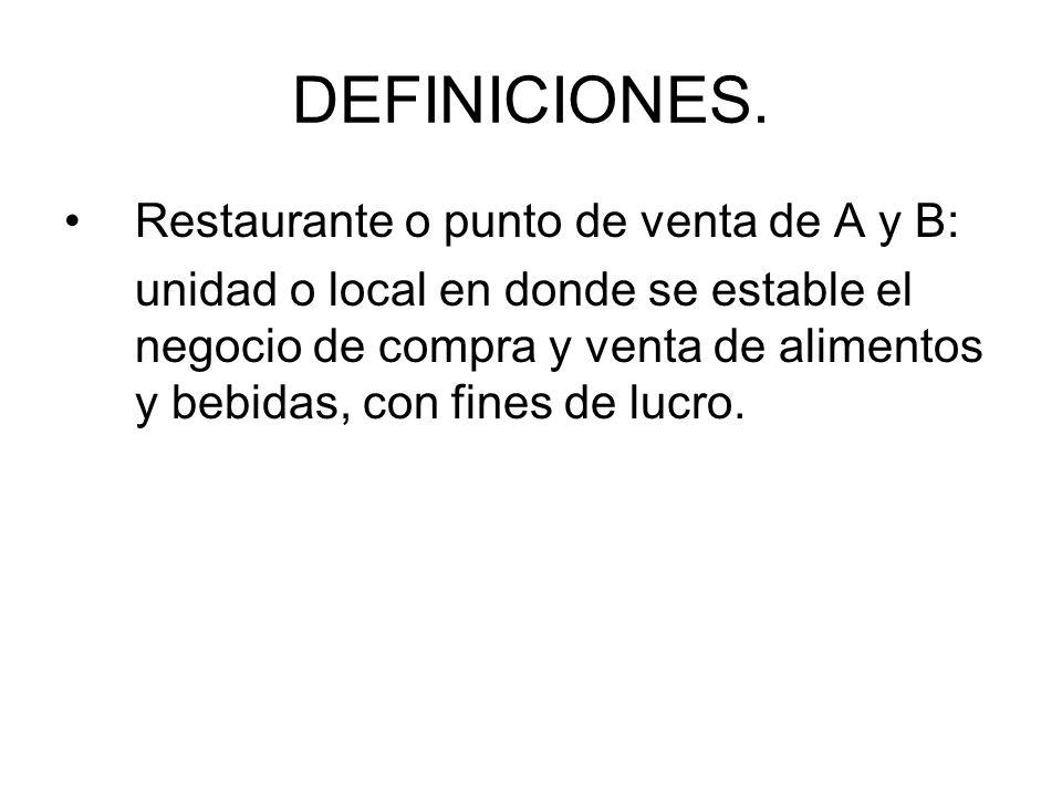 DEFINICIONES. Restaurante o punto de venta de A y B: unidad o local en donde se estable el negocio de compra y venta de alimentos y bebidas, con fines