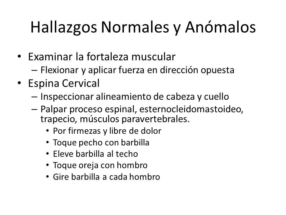Hallazgos Normales y Anómalos -Repetir movimientos aplicando fuerza opuesta.