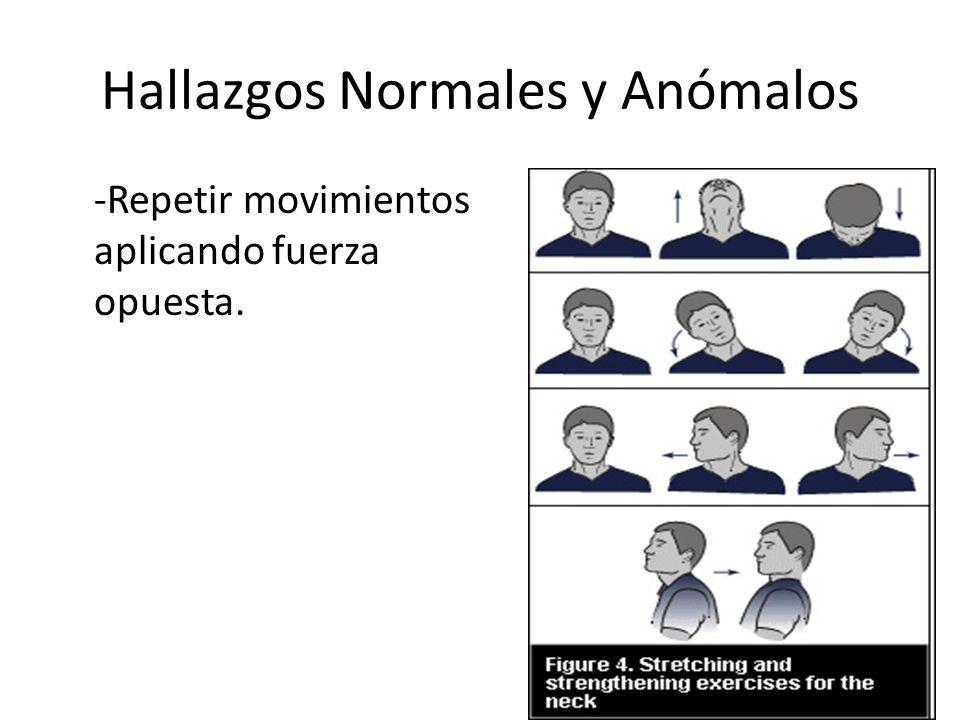 Hallazgos Normales y Anómalos Extremidades Superiores – Hombros Inspeccionar y comparar anterior y posteriormente.