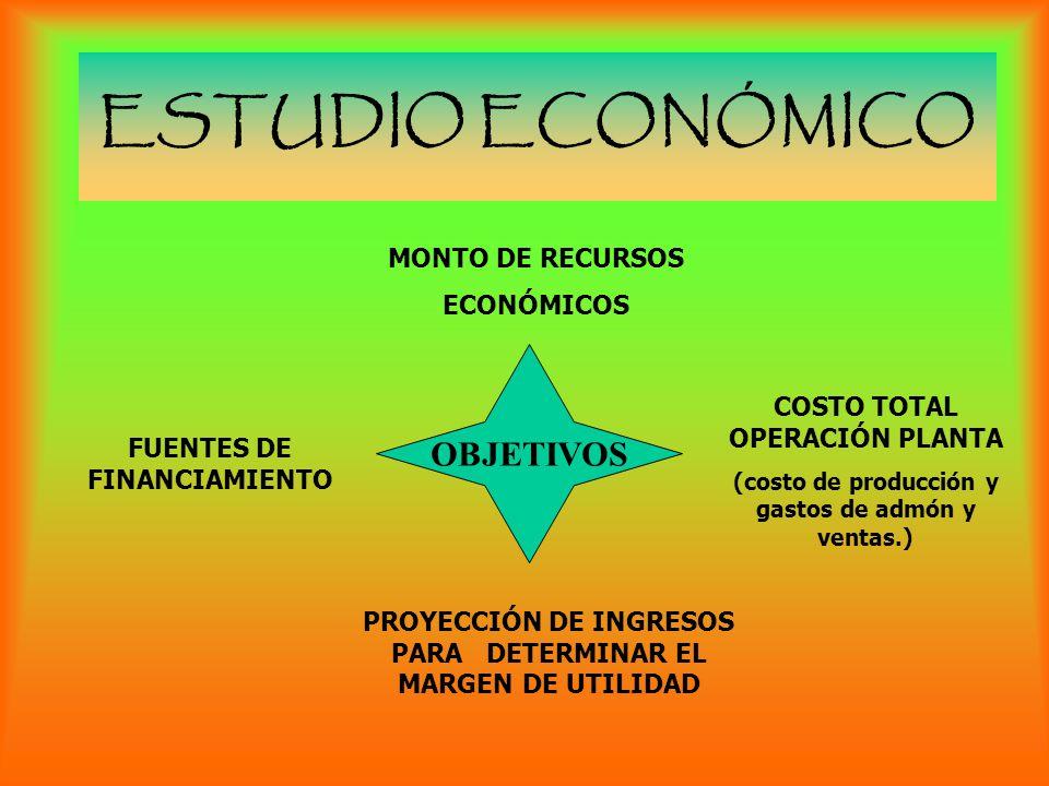 ESTUDIO ECONÓMICO OBJETIVOS MONTO DE RECURSOS ECONÓMICOS COSTO TOTAL OPERACIÓN PLANTA (costo de producción y gastos de admón y ventas.) PROYECCIÓN DE