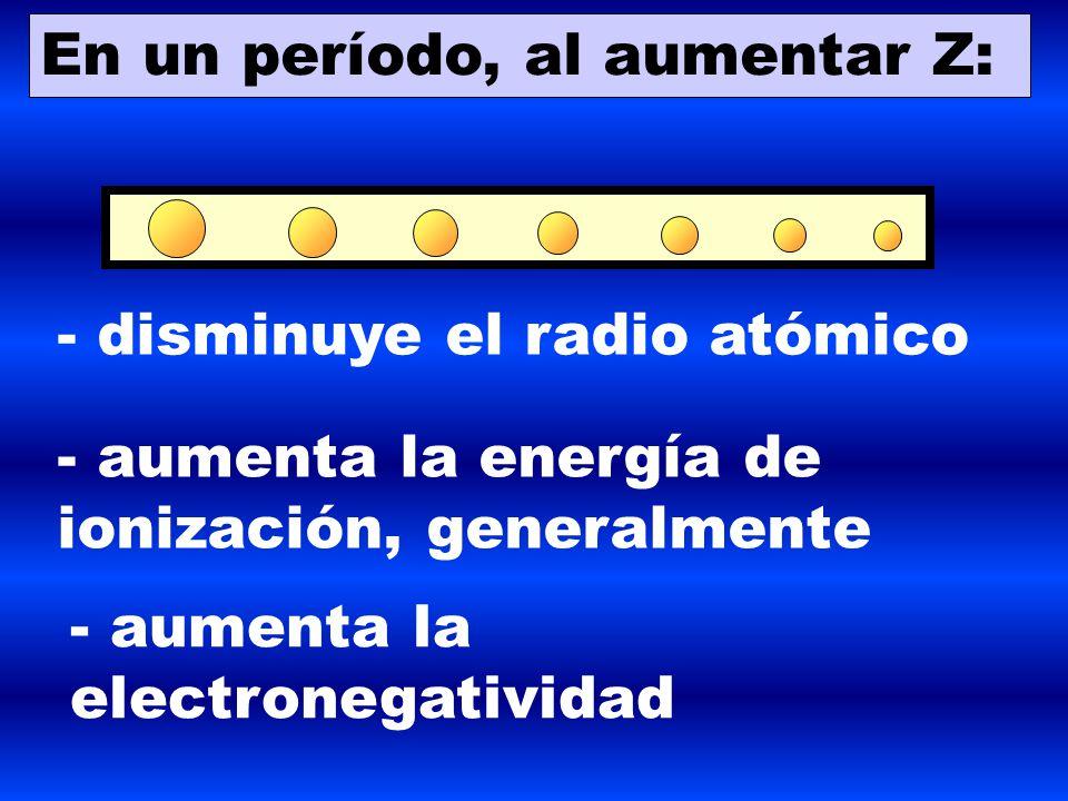 6 en un perodo al aumentar z disminuye el radio atmico aumenta la energa de ionizacin generalmente aumenta la electronegatividad - Tabla Periodica Grupos Periodos Electronegatividad Y Radio Atomico