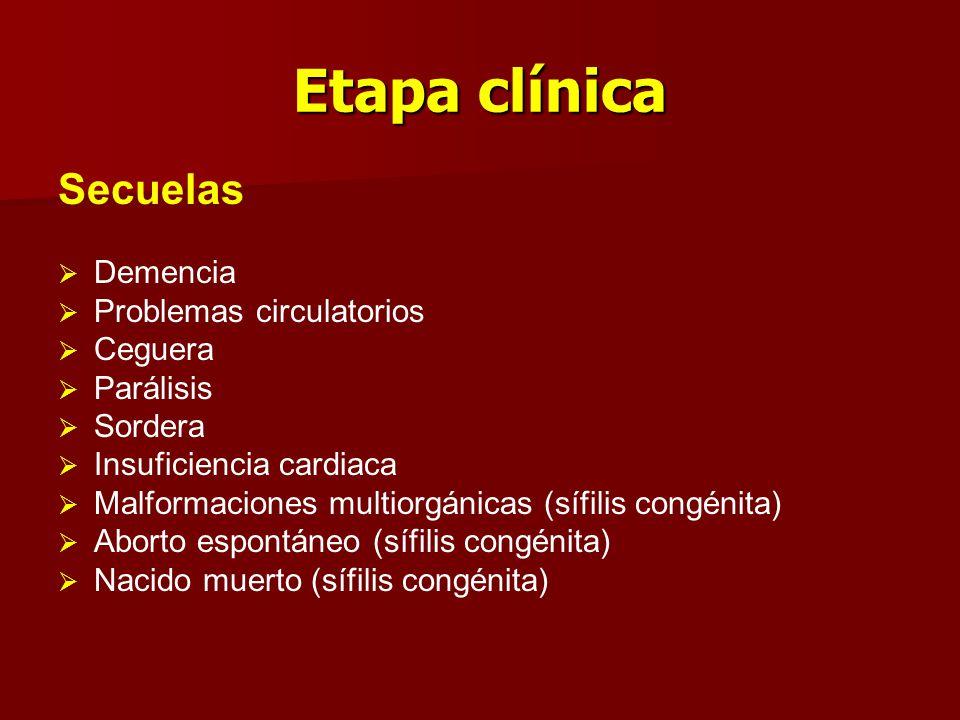Etapa clínica Secuelas   Demencia   Problemas circulatorios   Ceguera   Parálisis   Sordera   Insuficiencia cardiaca   Malformaciones mu