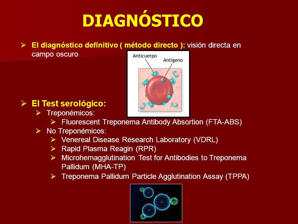 DIAGNÓSTICO  El diagnóstico definitivo ( método directo ): visión directa en campo oscuro  El Test serológico:  Treponémicos:  Fluorescent Trepone