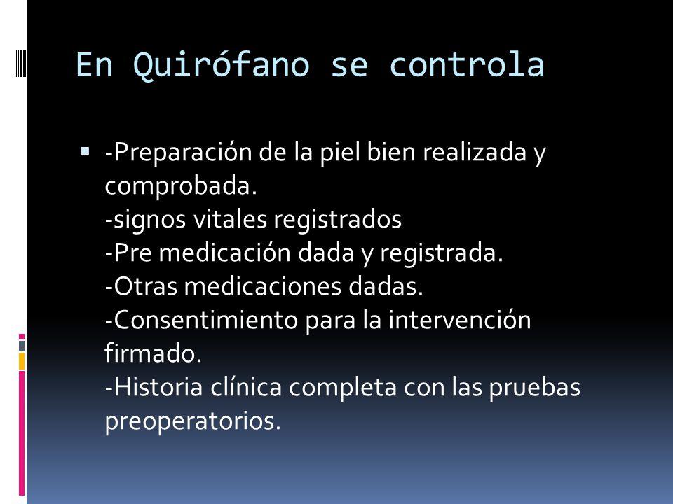 En Quirófano se controla  -Preparación de la piel bien realizada y comprobada. -signos vitales registrados -Pre medicación dada y registrada. -Otras