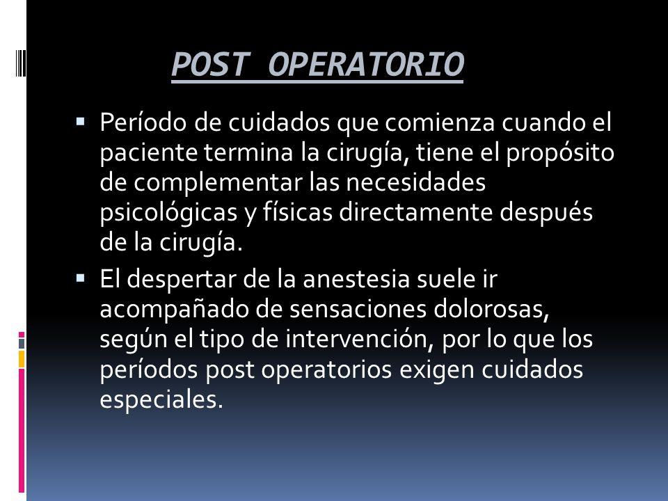  Período de cuidados que comienza cuando el paciente termina la cirugía, tiene el propósito de complementar las necesidades psicológicas y físicas di